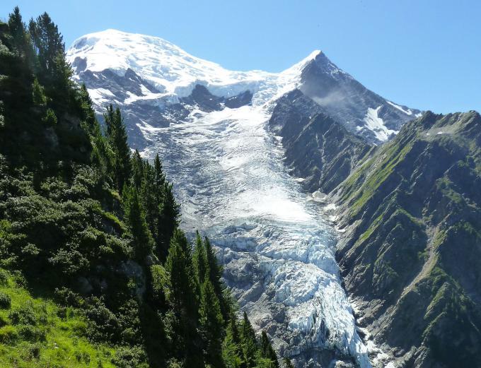 Les glaciers de montagne en été