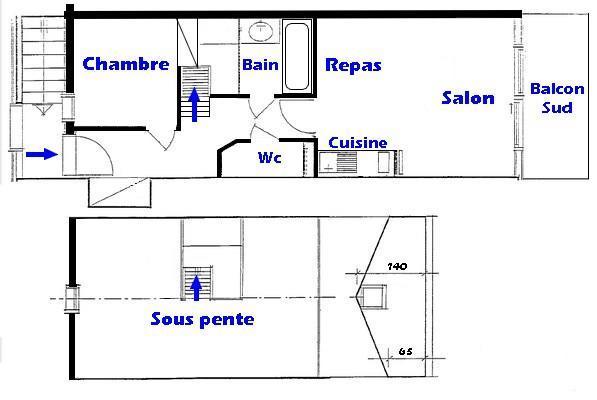 Vacaciones en montaña Apartamento 3 piezas mezzanine para 6 personas (116) - Chalet Cristal 1 - Les Saisies - Plano