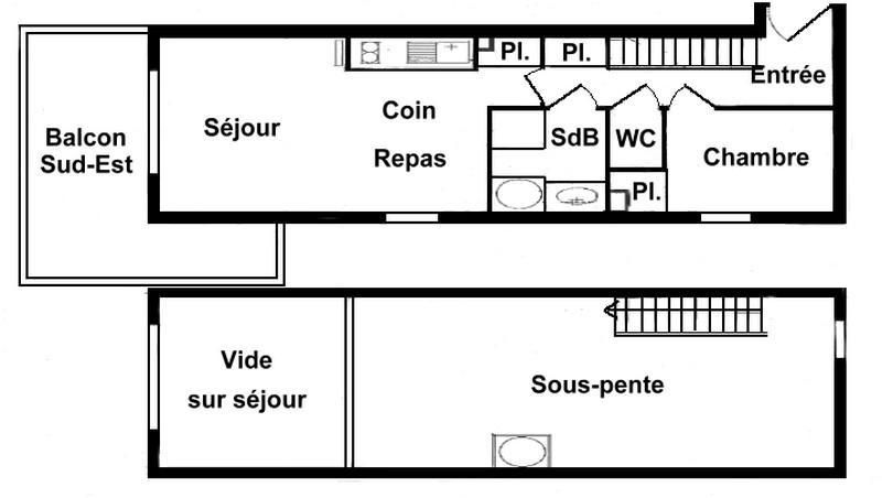 Vacaciones en montaña Apartamento 2 piezas mezzanine para 6 personas (215) - Chalet Cristal 2 - Les Saisies - Plano