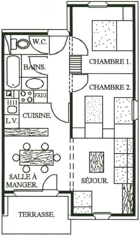 Vacances en montagne Appartement 3 pièces 6 personnes - Chalet Cristal - Les Menuires - Plan