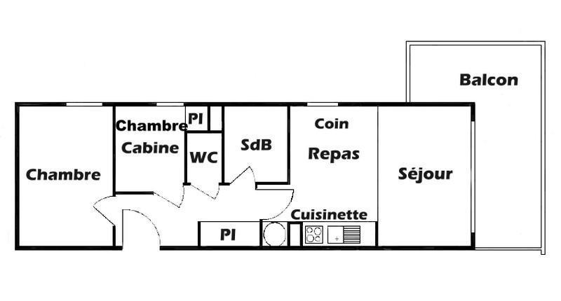 Vacaciones en montaña Apartamento 2 piezas cabina para 6 personas (609) - Chalet Cristal 6 - Les Saisies - Plano