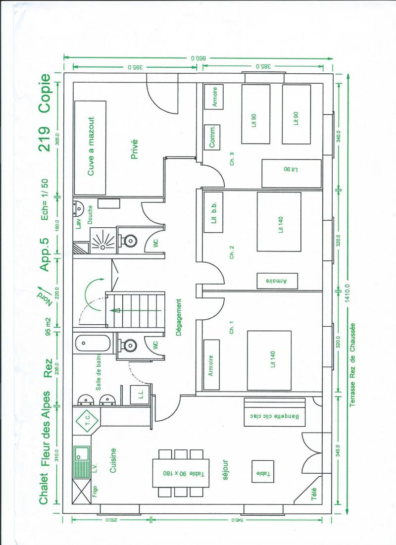 Holiday in mountain resort 4 room apartment 9 people (326) - Chalet Fleur des Alpes - Le Grand Bornand - Plan