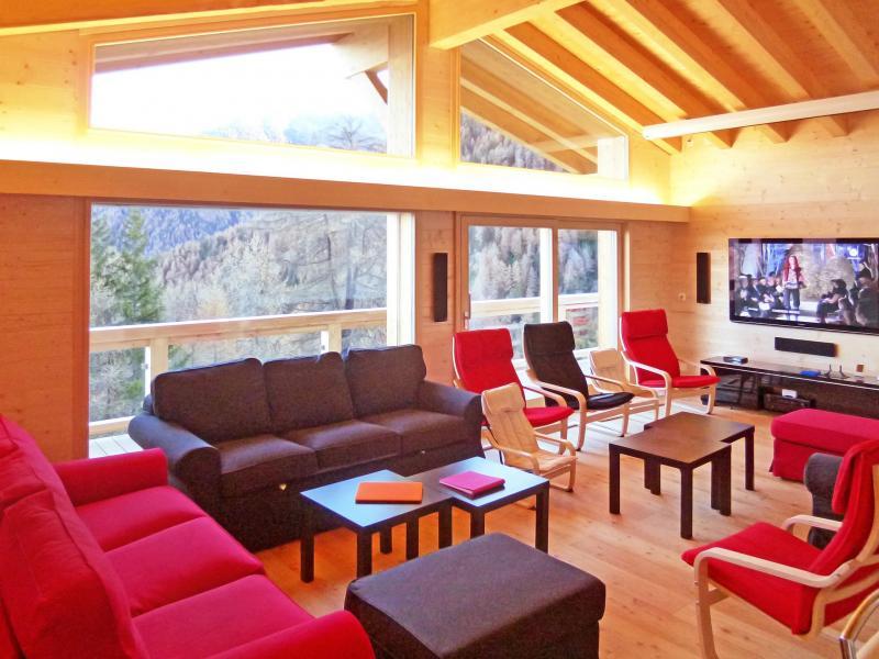 Urlaub in den Bergen Chalet Flocon de Neige - La Tzoumaz - Wohnzimmer