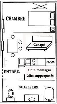 Vacances en montagne Appartement 2 pièces coin montagne 4 personnes - Chalet le Génépi - Les Menuires - Plan