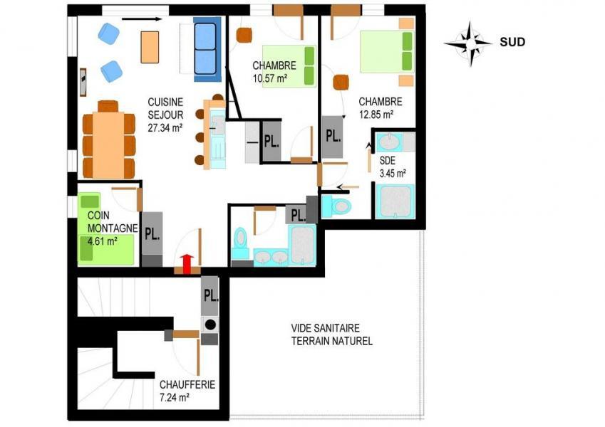 Vacaciones en montaña Apartamento 4 piezas para 8 personas (006) - Chalet le Saint Valin - Val Cenis - Plano