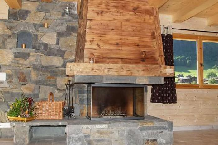 Vacaciones en montaña Chalet 6 piezas para 12 personas - Chalet Perle des Neiges - Le Grand Bornand - Chimenea