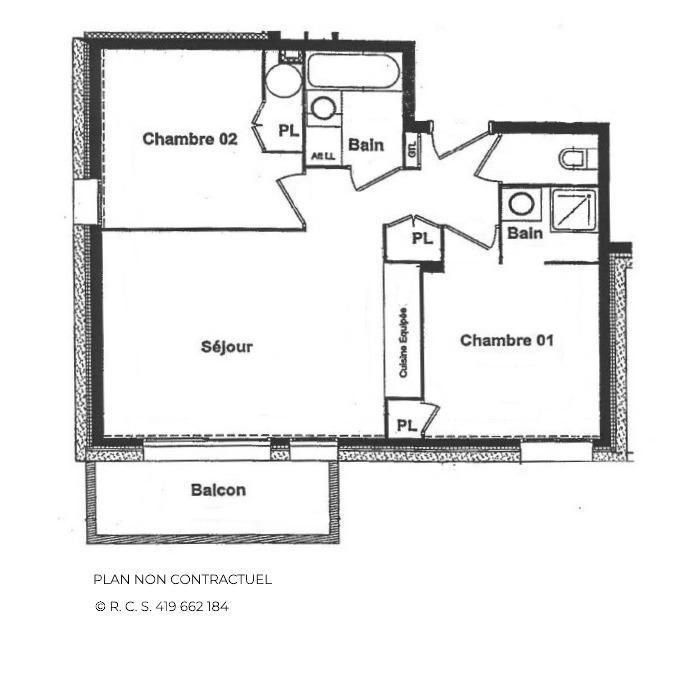 Vacances en montagne Appartement 3 pièces 4 personnes (A1) - Chalets du Doron - Les Menuires - Plan