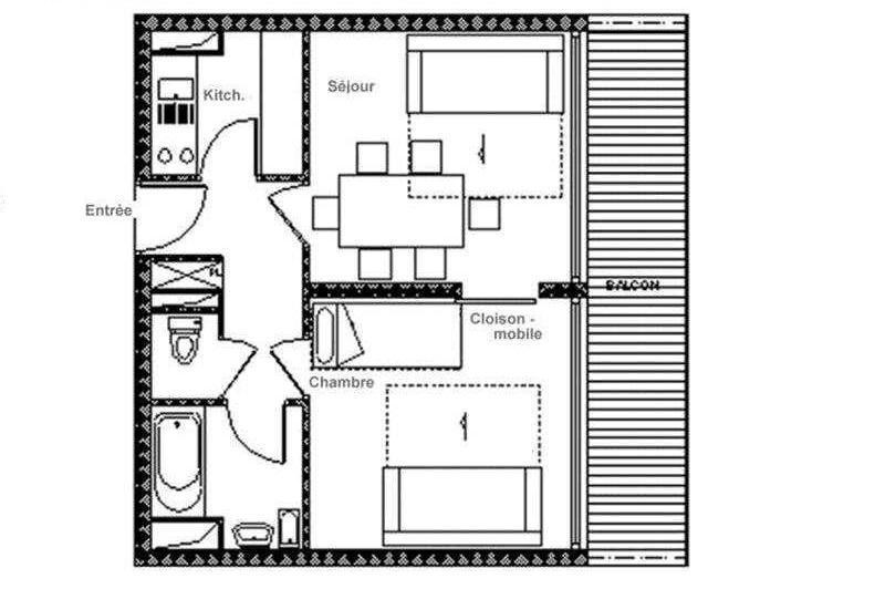 Vacances en montagne Appartement 2 pièces 6 personnes (615) - La Résidence Aravis - Les Menuires