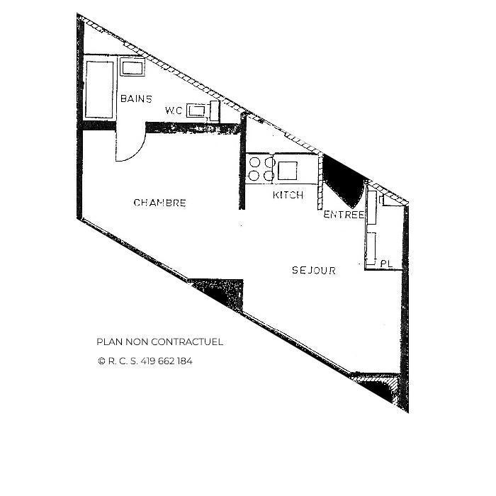 Vacances en montagne Appartement 2 pièces 4 personnes (1320) - La Résidence Caron - Les Menuires - Plan