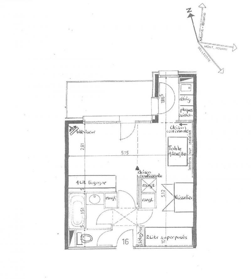 Vacances en montagne Studio 4 personnes (016) - La Résidence la Lanterne - Montchavin La Plagne - Plan