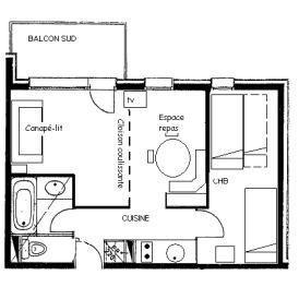 Wakacje w górach Apartament 2 pokojowy 5 osób (G099) - La Résidence le Prariond - Valmorel - Plan