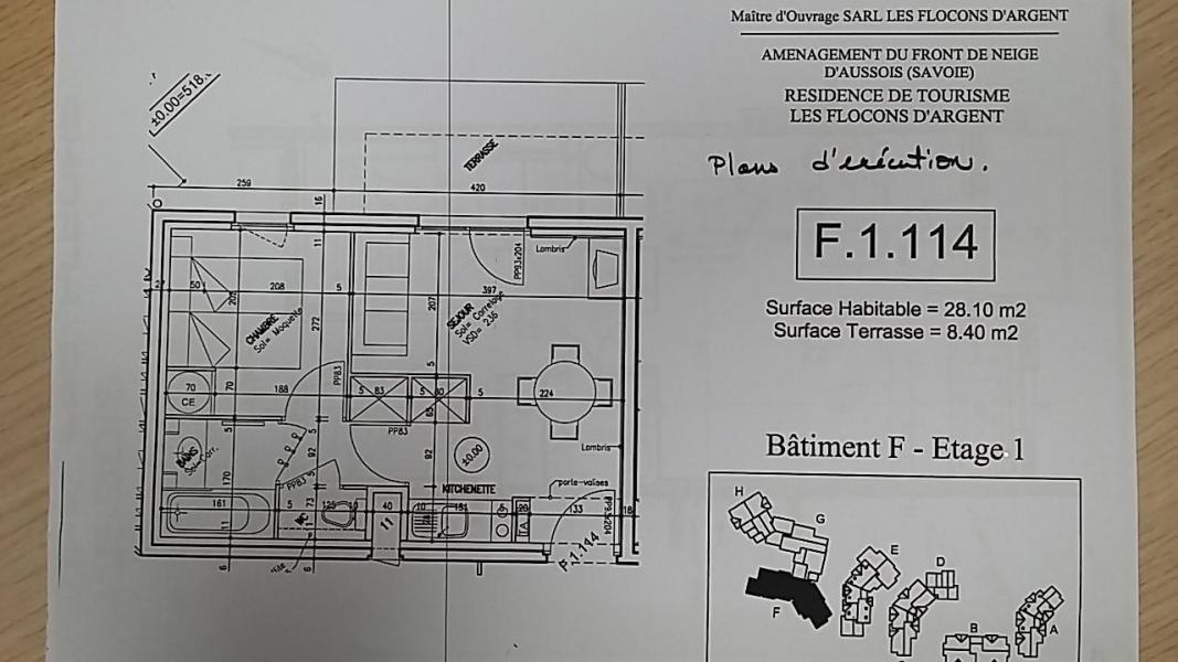 Wakacje w górach Apartament 2 pokojowy 4 osób (F1.114) - La Résidence les Flocons d'Argent - Aussois - Plan