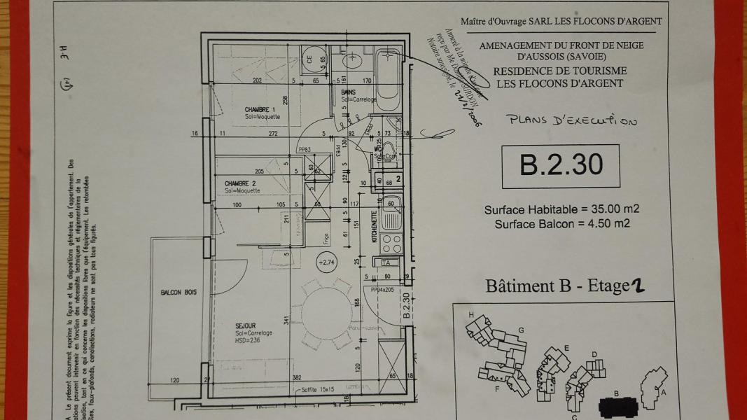 Wakacje w górach Apartament 2 pokojowy kabina 4-6 osób (B2.30) - La Résidence les Flocons d'Argent - Aussois - Plan