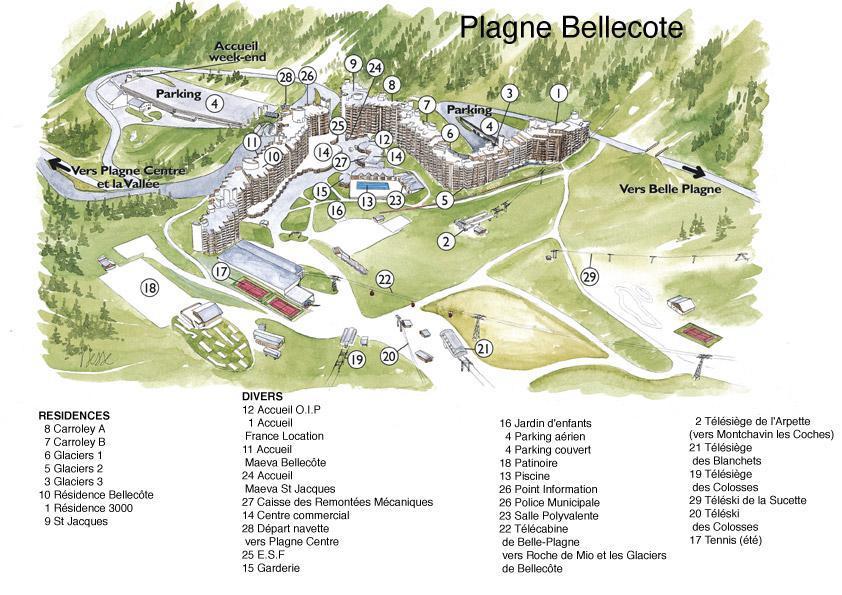 Holiday in mountain resort La Résidence les Glaciers - La Plagne - Plan