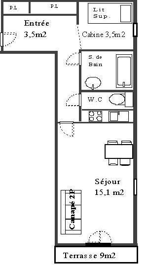 Wakacje w górach Studio kabina 4 osoby (22) - La Résidence les Sétives - Aussois - Plan