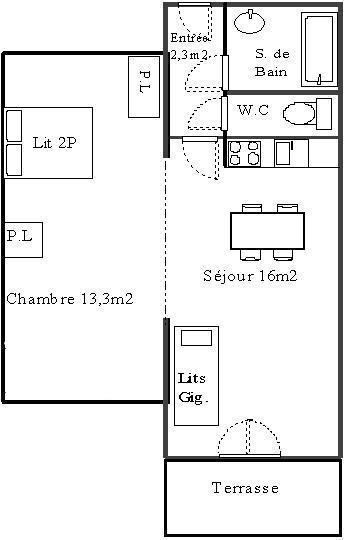 Wakacje w górach Apartament 2 pokojowy 4 osób (611) - La Résidence les Sétives - Aussois - Plan