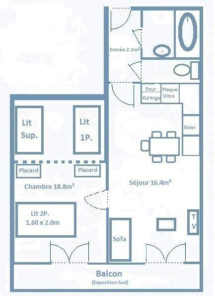 Wakacje w górach Apartament 2 pokojowy 5 osób (632) - La Résidence les Sétives - Aussois