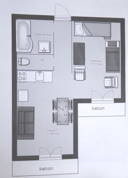 Wakacje w górach Studio kabina 4 osoby (633) - La Résidence les Sétives - Aussois