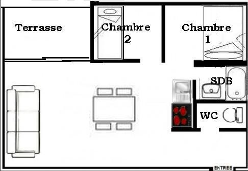 Urlaub in den Bergen 3-Zimmer-Appartment für 6 Personen (2104) - La Résidence Ski Soleil - Les Menuires - Plan