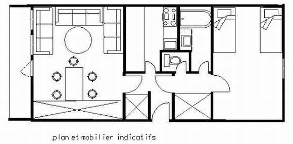 Wakacje w górach Apartament 2 pokojowy 5 osób (75) - La Résidence St Jacques B - La Plagne - Plan