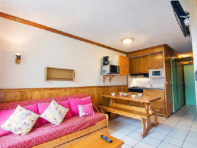 Vakantie in de bergen Appartement 2 kamers 6 personen (6) - Le Villaret - Les Menuires - Woonkamer