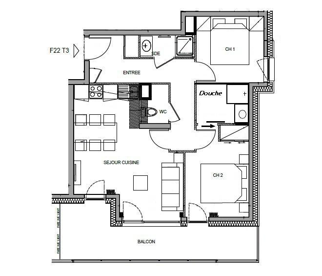 Каникулы в горах Апартаменты 3 комнат 6 чел. (F22) - Les Chalets des Cimes - Les Saisies - план