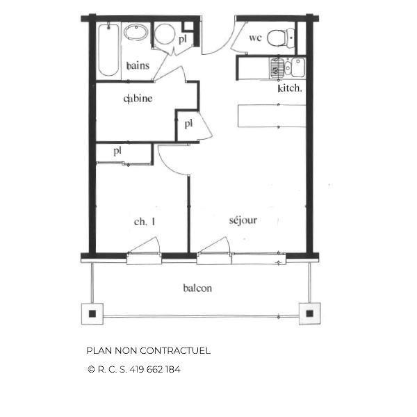 Vacances en montagne Appartement 2 pièces cabine 4-6 personnes (102) - Les Côtes d'Or Chalet Argentière - Les Menuires