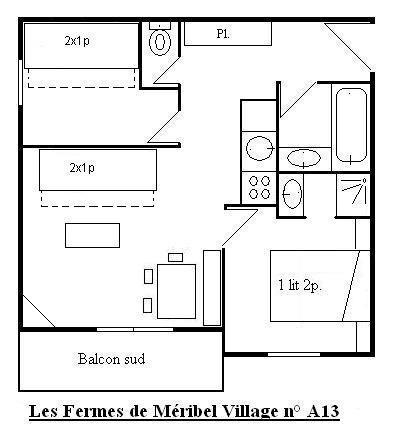 Vacances en montagne Appartement 3 pièces 6 personnes (13) - Les Fermes de Méribel Village - Méribel - Plan