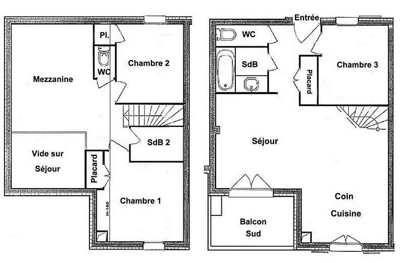 Vacaciones en montaña Apartamento 4 piezas mezzanine para 8 personas (FERJ07) - Les Fermes du Beaufortain J - Les Saisies - Plano