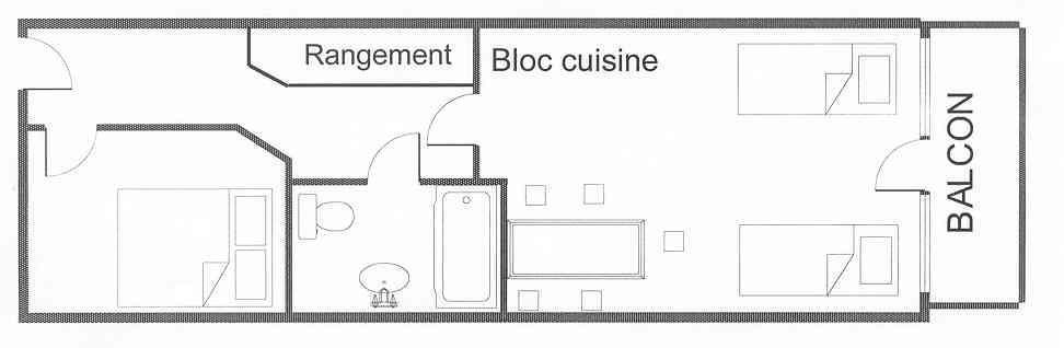 Holiday in mountain resort 2 room apartment 5 people (521) - Résidence 4ème Dé - Montchavin La Plagne - Plan