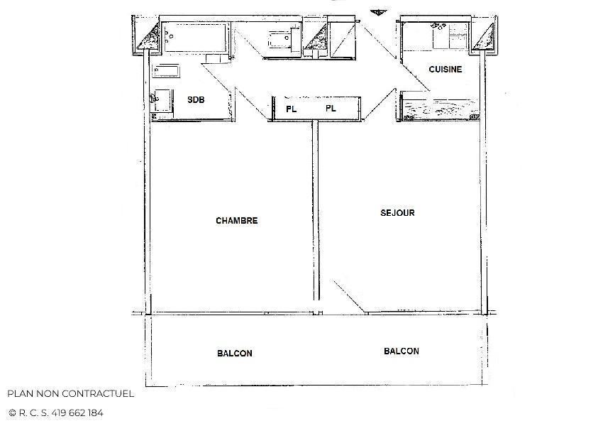Vacances en montagne Appartement 2 pièces 4 personnes (719) - Résidence Aravis - Les Menuires - Plan