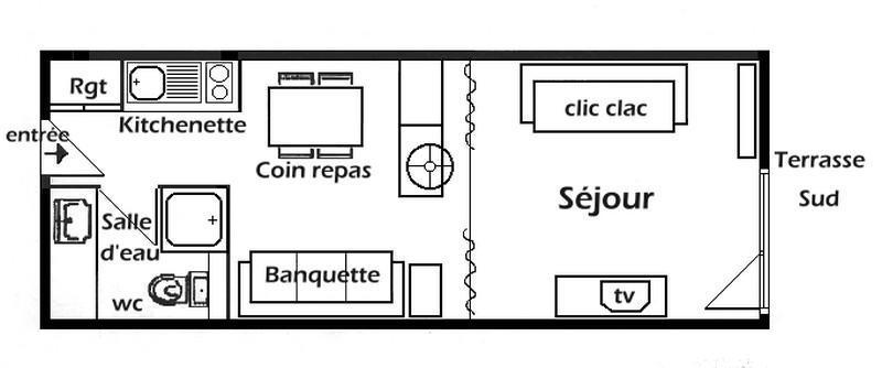 Vacaciones en montaña Estudio para 4 personas (009) - Résidence Bisanne - Les Saisies - Plano