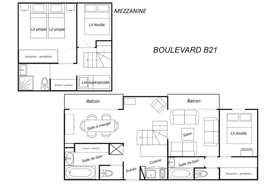 Vacances en montagne Appartement duplex 4 pièces cabine 8 personnes (B21) - Résidence Boulevard - Méribel-Mottaret - Plan