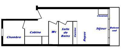 Vacaciones en montaña Apartamento cabina 2 piezas para 6 personas (033) - Résidence Breithorn - Les Saisies - Plano