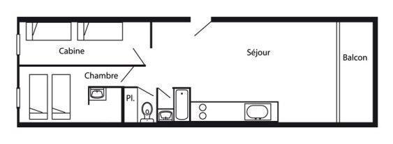 Vacances en montagne Appartement 3 pièces 7 personnes (775R) - Résidence Cachette - Les Arcs - Plan