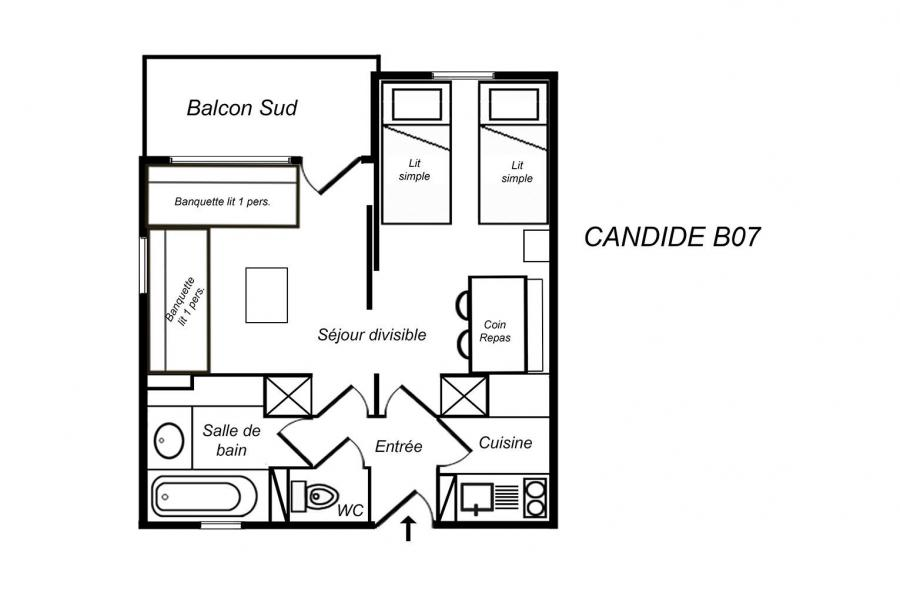 Vacances en montagne Appartement 1 pièces 4 personnes (B07) - Résidence Candide - Méribel-Mottaret - Plan