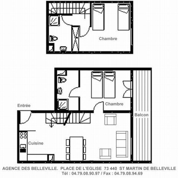 Wakacje w górach Apartament duplex 3 pokojowy 4 osób (A) - Résidence Charmettes - Saint Martin de Belleville - Plan