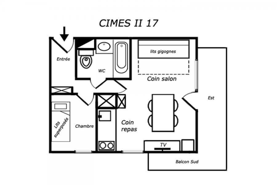 Vacances en montagne Appartement 2 pièces 4 personnes (017) - Résidence Cimes II - Méribel-Mottaret - Plan