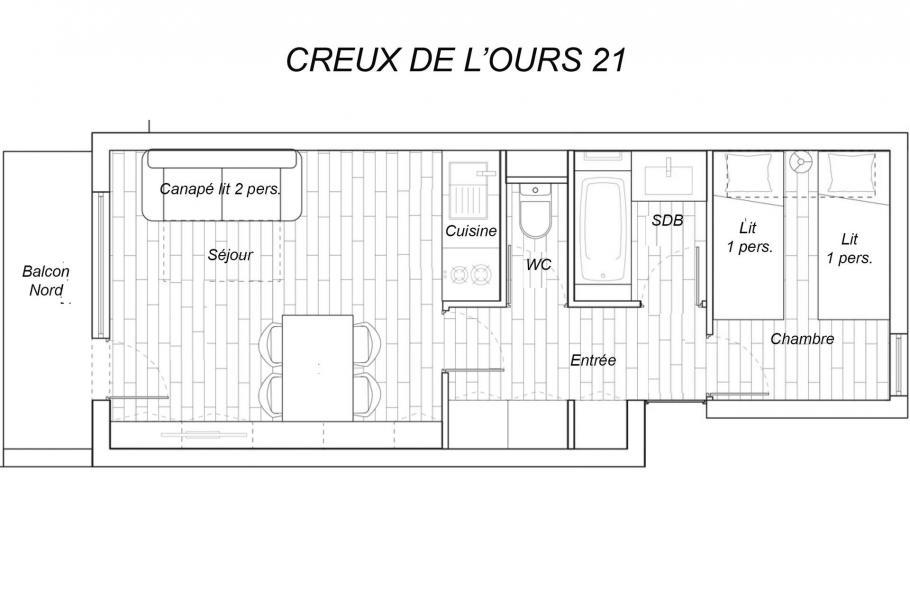 Vacaciones en montaña Apartamento 2 piezas para 4 personas (21) - Résidence Creux de l'Ours Bleu - Méribel-Mottaret - Plano
