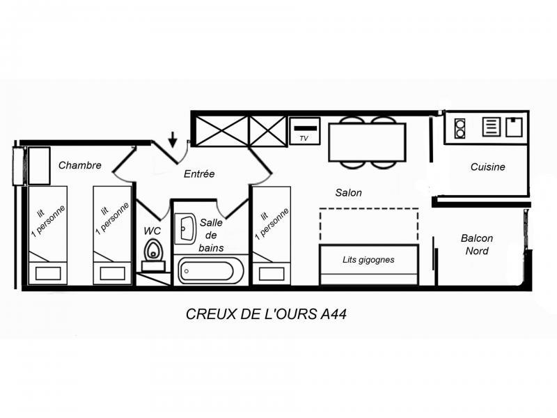 Vacances en montagne Logement 2 pièces 4 personnes (CROA44) - Résidence Creux de l'Ours Rouge - Méribel-Mottaret - Plan