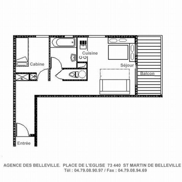 Wakacje w górach Apartament 2 pokojowy 4 osób (B3) - Résidence Dahlia - Saint Martin de Belleville - Plan