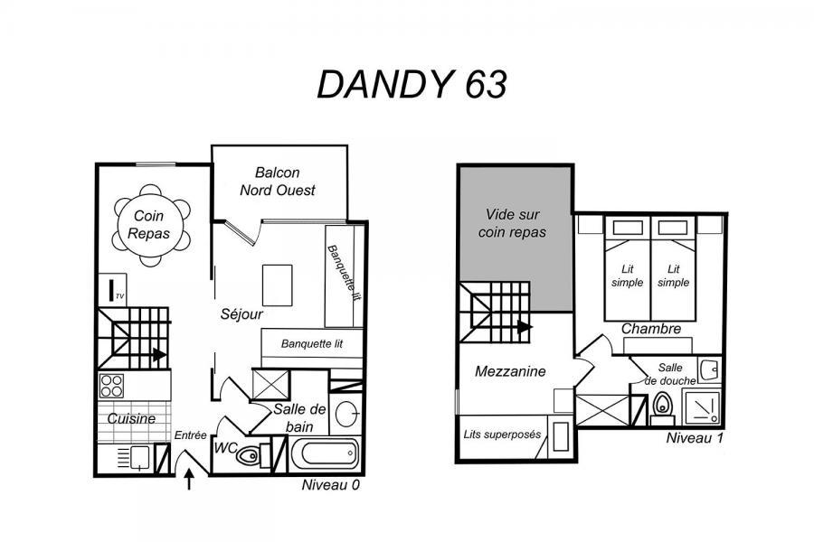 Holiday in mountain resort 2 room duplex apartment 6 people (63) - Résidence Dandy - Méribel-Mottaret