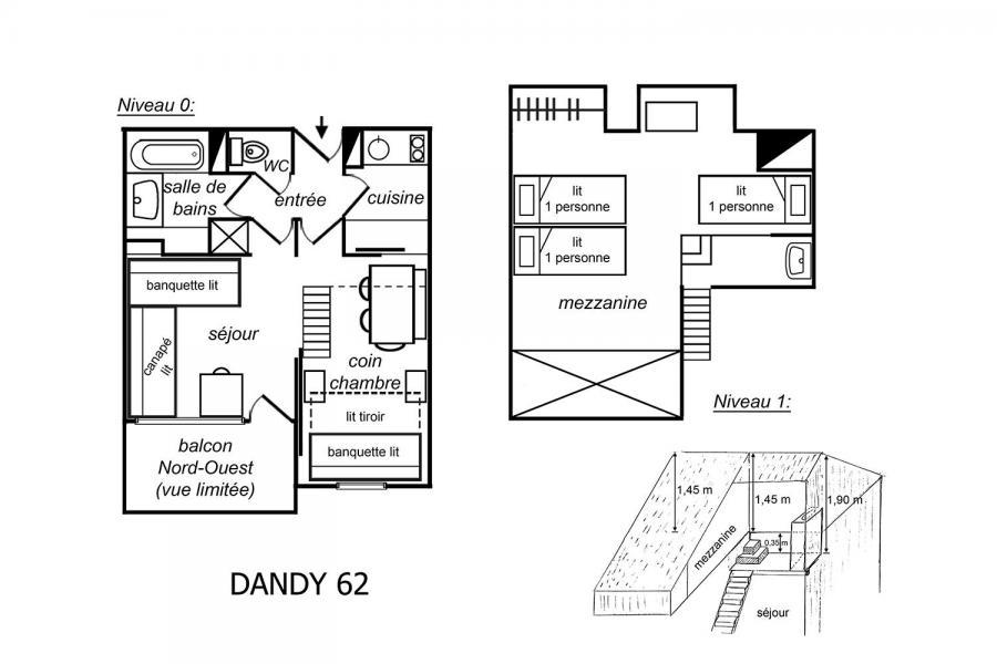 Vacances en montagne Appartement 2 pièces mezzanine 5 personnes (062) - Résidence Dandy - Méribel-Mottaret - Plan