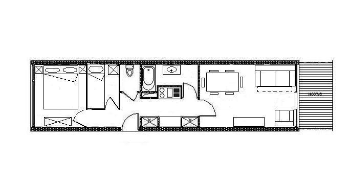 Wakacje w górach Apartament 2 pokojowy kabina 6 osób (AL0R04) - Résidence des Alpages - Les Menuires