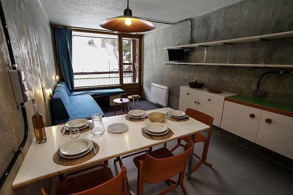 Vakantie in de bergen Studio bergnis 5 personen (0966) - Résidence des Lauzières - Les Arcs - Woonkamer