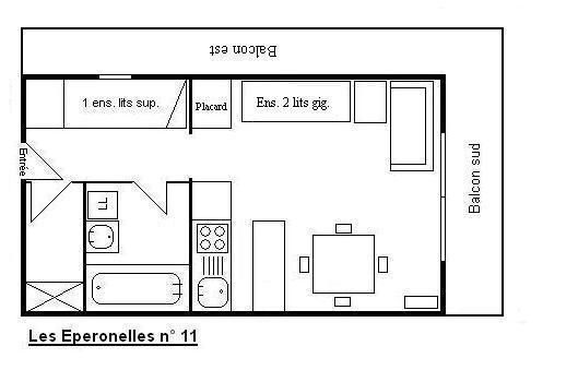Holiday in mountain resort Studio sleeping corner 4 people - Résidence Eperonnelles - Méribel