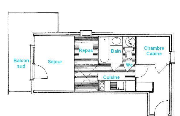 Vacaciones en montaña Apartamento 2 piezas para 4 personas (2207) - Résidence Grand Mont 2 - Les Saisies - Plano