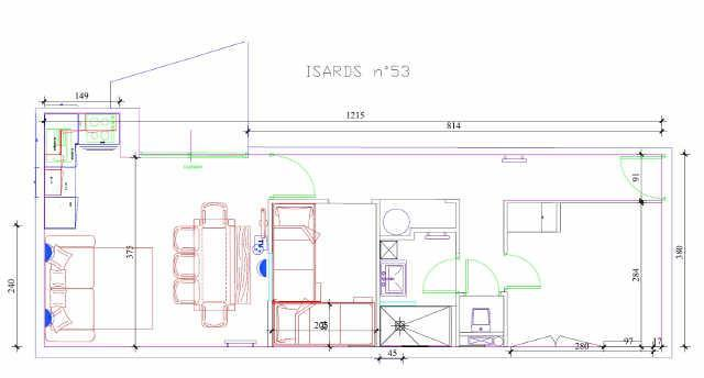 Holiday in mountain resort 3 room apartment cabin 8 people (ISA53) - Résidence Isards - Gourette - Plan