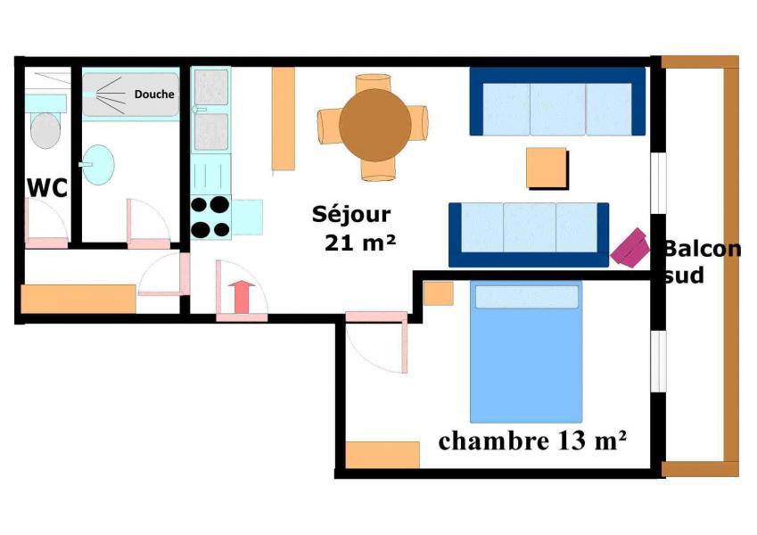 Vacances en montagne Appartement 2 pièces 5 personnes (001) - Résidence Jorcin Lanslebourg - Val Cenis - Plan