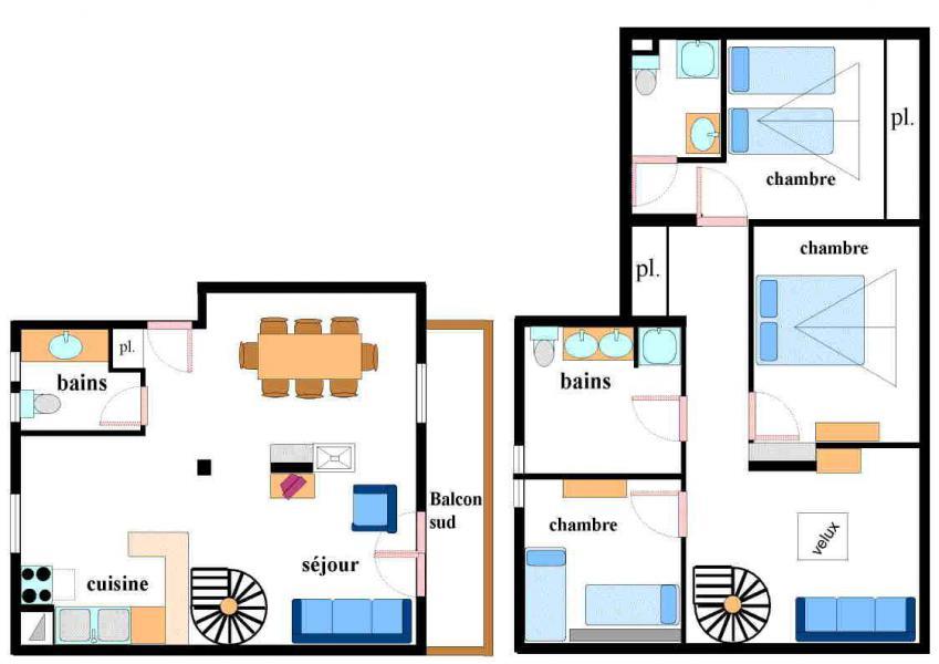 Vacances en montagne Appartement 4 pièces mezzanine 10 personnes (002) - Résidence Jorcin Lanslebourg - Val Cenis - Plan